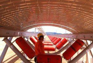 Overland Coal Conveyor utilising PERMALITE LT7® roofing Crimp Curved